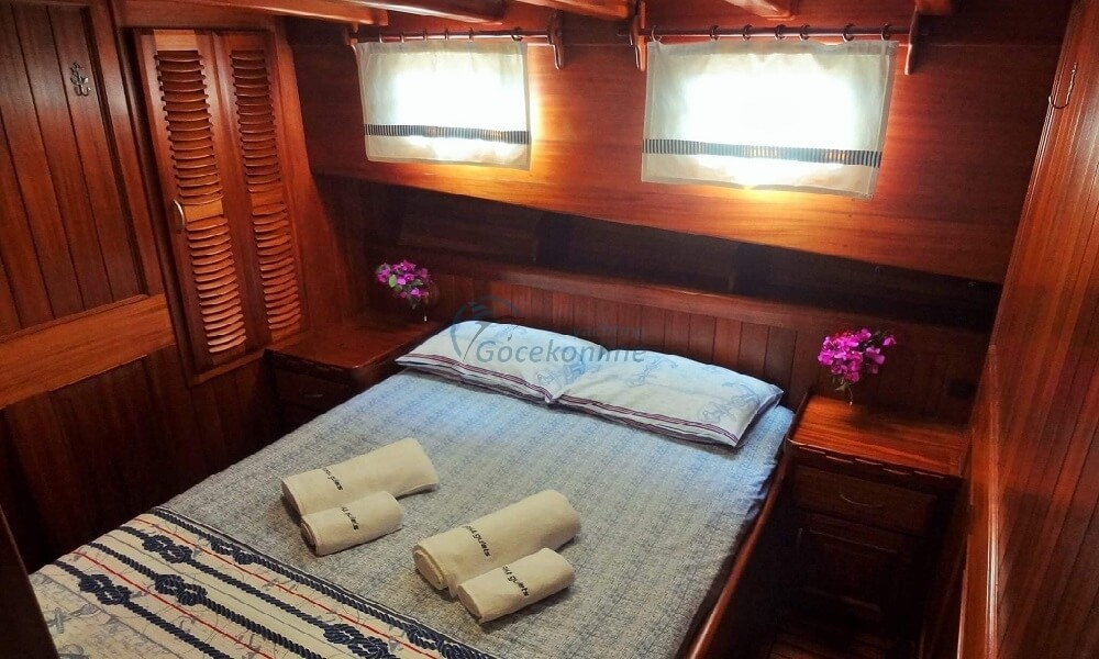 Our yacht, which was built in 2004, has been completely revised in 2017 and it provides blue cruise service with its air conditioned 1 master, 1 double, 1 twin cabin alternatives.