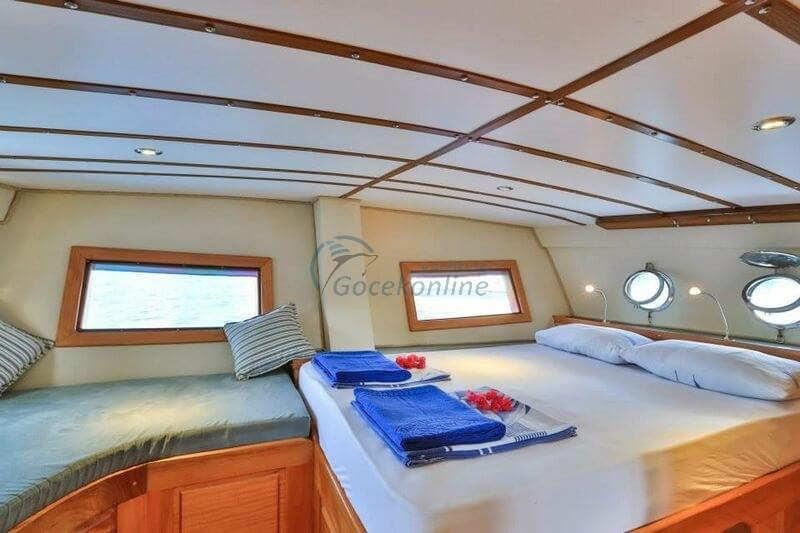 There are 2 master, 2 double cabins in our boat, which has a length of 18 meters and a width of 5 meters.